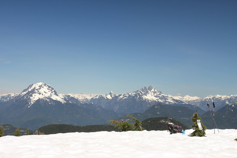 Mount Robie Reid and Judge Howay from the summit of Mount Saint Benedict.