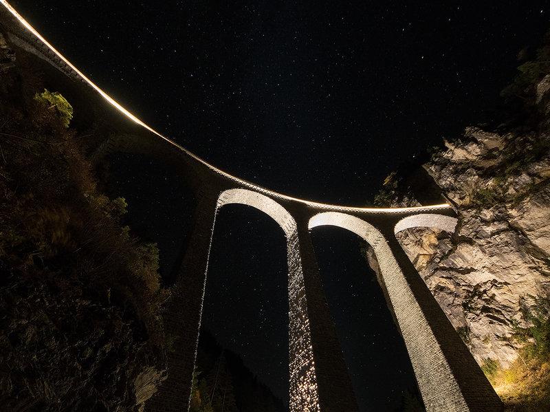 Landwasser viaduct at night.