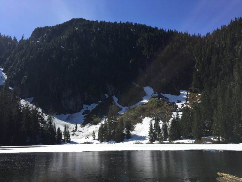 Mckay Lake with Mount Saint Benedict in the background, on Mount Saint Benedict Trail
