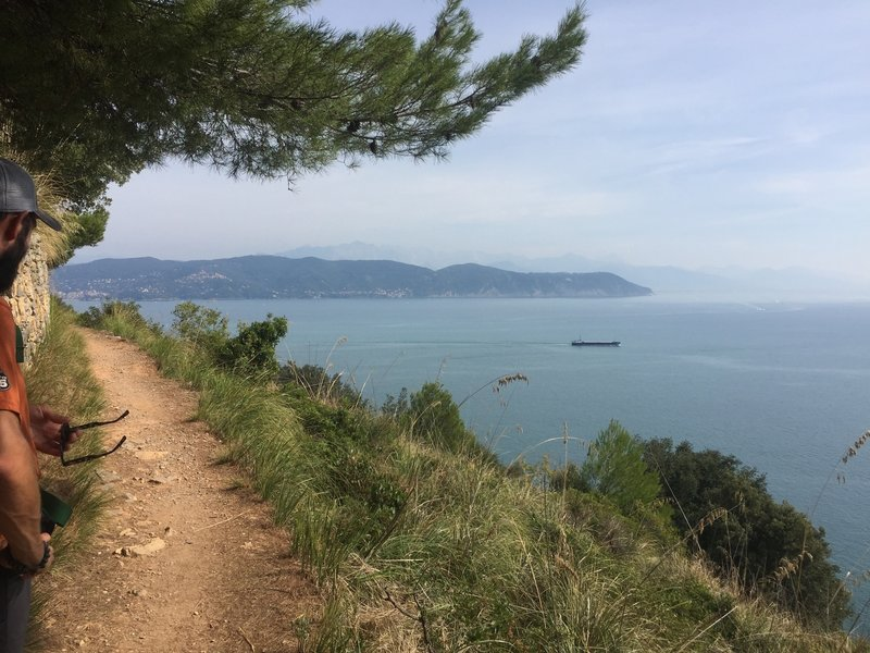 Typical singletrack trail section high above the sea.