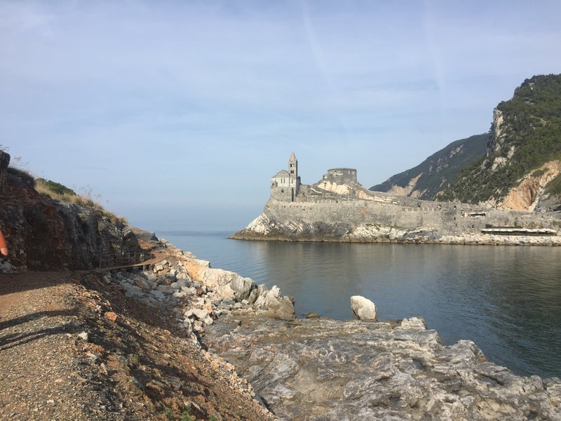 Even as you start the route you are treated to excellent views of Porto Venere!  The trail is visible on the left side of the photo and begins the climb just after the raised section.
