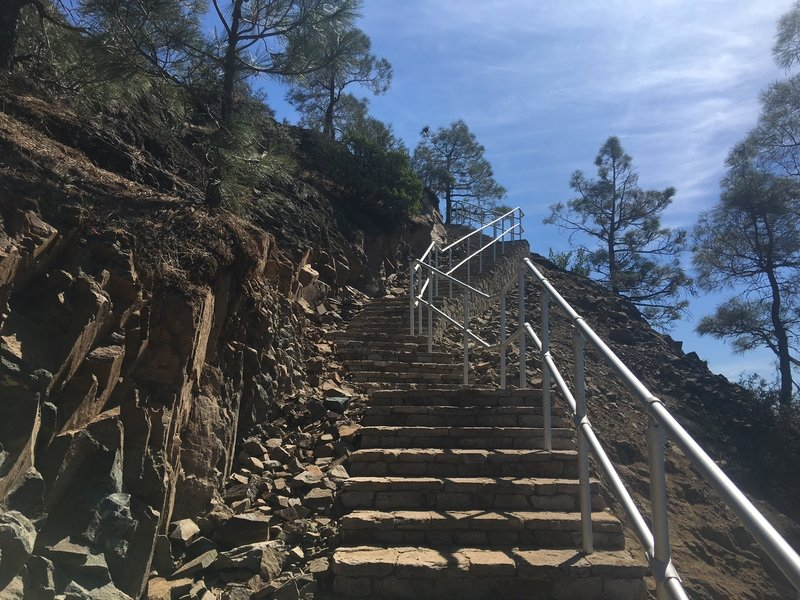 Steps in last section of the Mount Umunhum Trail, leading to the summit.