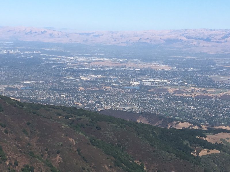 Silicon Valley and the Diablo Range as seen from the the Mount Umunhum summit.