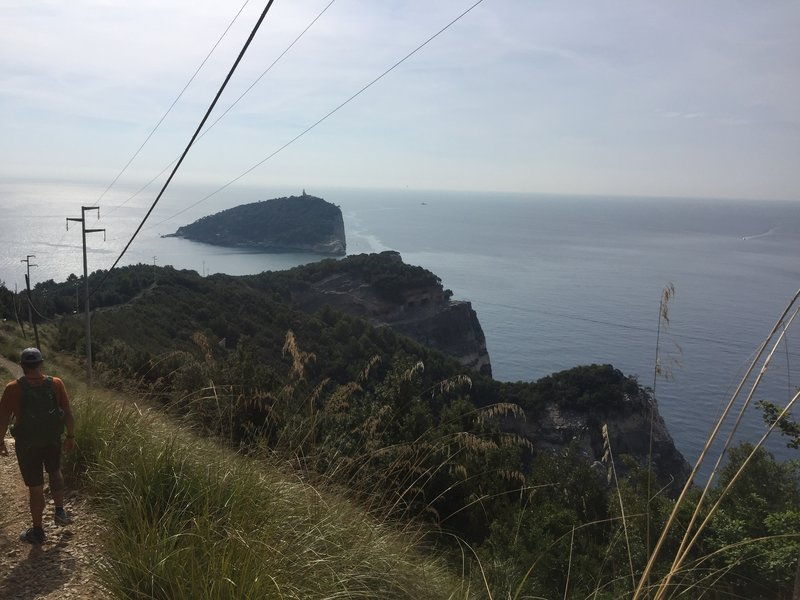 Typical section of the trail on the descent towards the southern point looking towards Tino Island.
