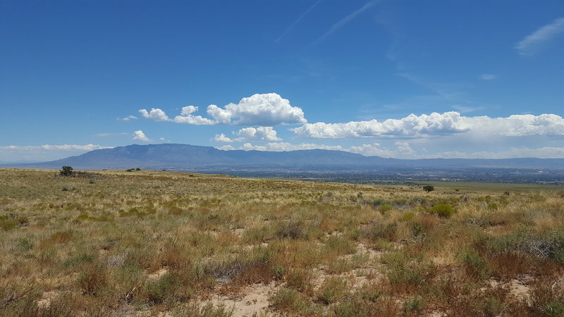 View of Albuquerque and the Sandia Mountains from the scenic overlook at the volcanoes