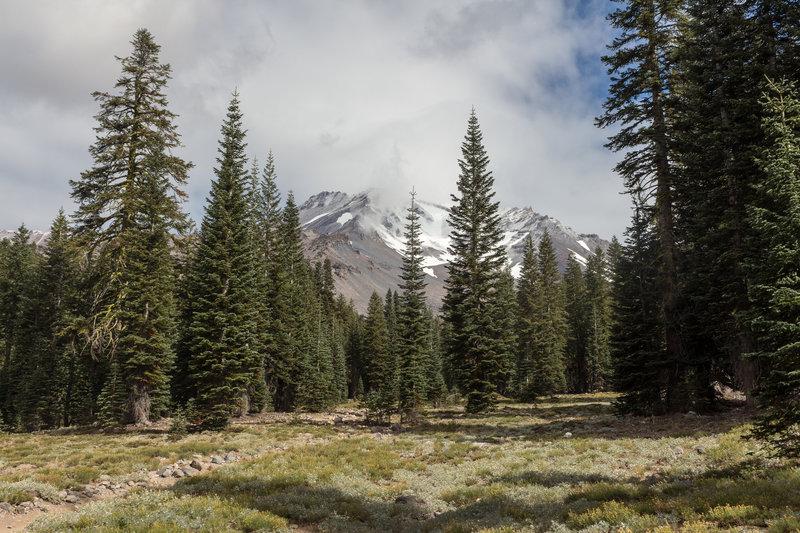 Cloudy summit of Mount Shasta