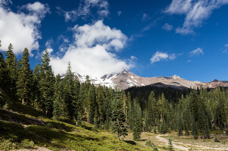The cloudy summit of Mount Shasta.