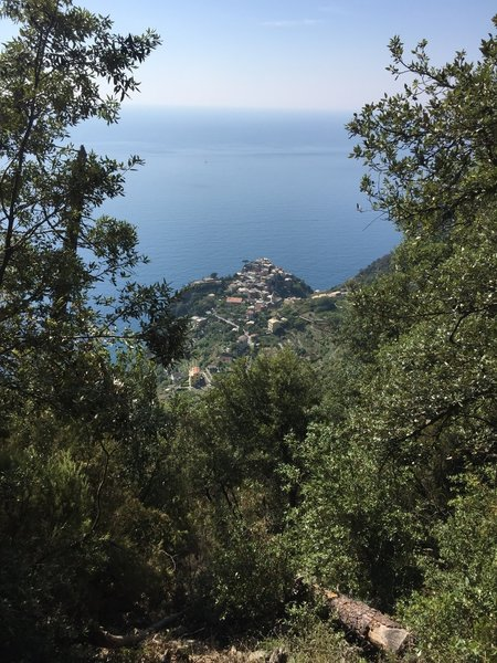 The view back to Corniglia on the way to Manarola.