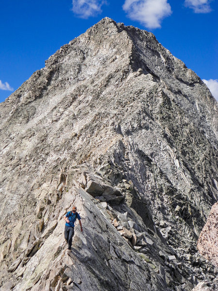 Crossing the Knife Edge on Capitol Peak.