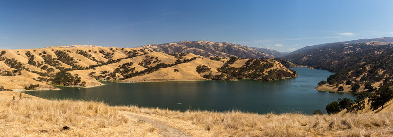 Panoramic view of Lake Del Valle from the northern shore.