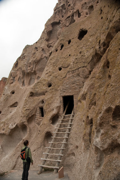 Waiting for a chance to enter a cliff dwelling