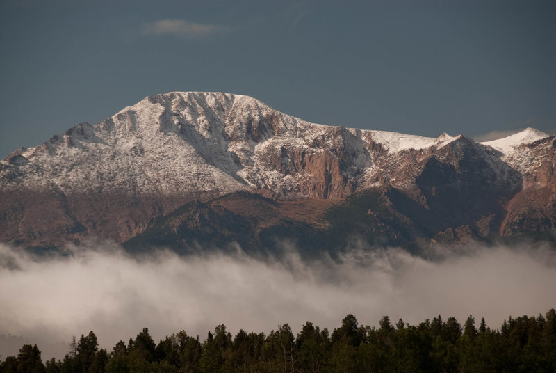 Fresh snow on Pikes Peak and an inversion from Rampart Range Road