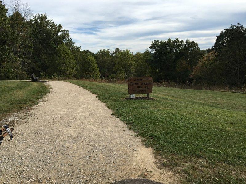 Gravel portion of trail along shelter house