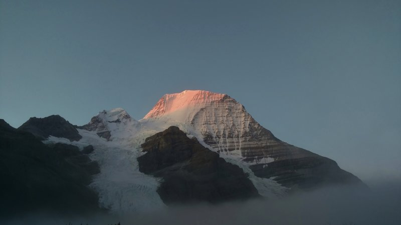 Early morning alpenglow on Mt. Robson, on a rare, perfectly clear morning.