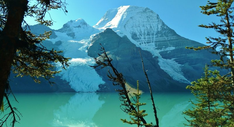 Mt. Robson (12,972 ft., highest in Canadian Rockies) across Berg Lake, with Berg Glacier (left) and Mist Glacier (right), from the Berg lake Trail
