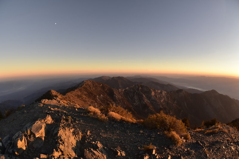 Looking south from Telescope Peak at sunset.