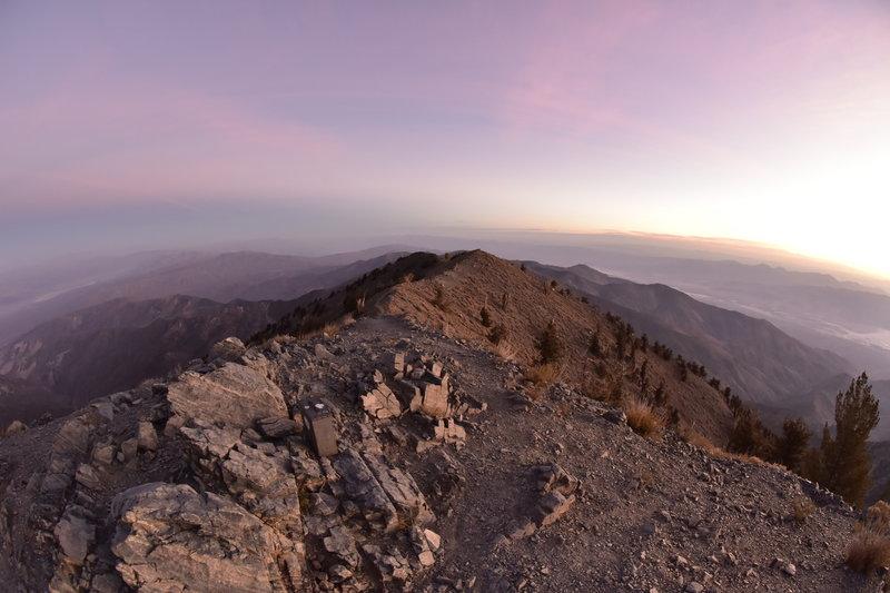 Looking north from Telescope Peak at sunrise.
