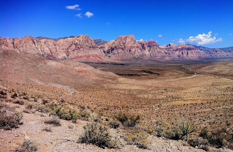 You are rewarded with this view of Red Rock NCA with the hard part of the climb behind you.