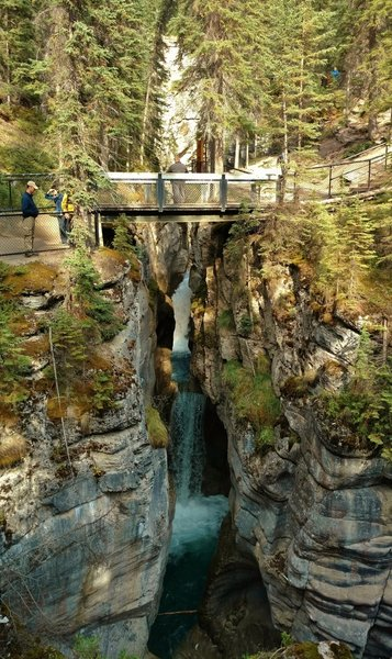 Crossing Maligne Canyon on the 3rd bridge of the Maligne Canyon Trail