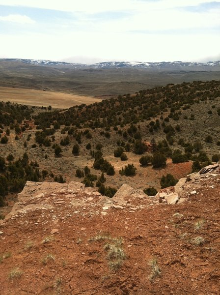 View to south from Red Ridge summit. Southern Wind River Mountains in background.