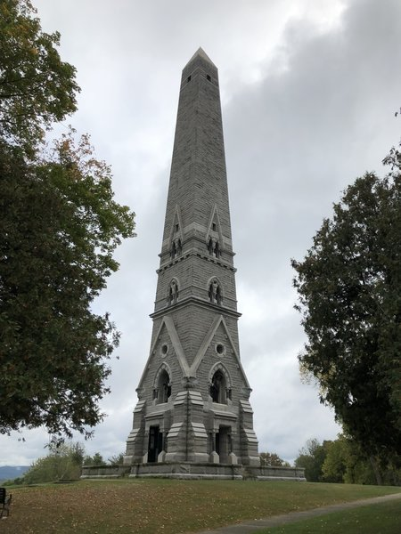 Saratoga Monument near the start of the Victory Woods Trail.
