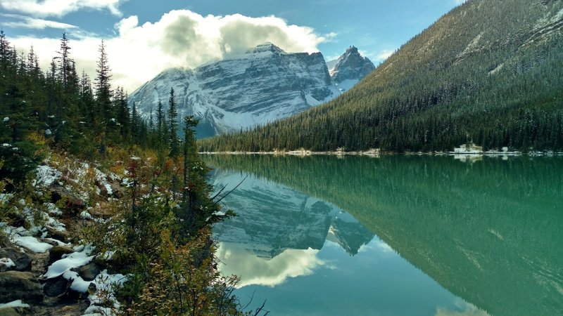 Cathedral Mountain with Cathedral Crags and Cathedral Glacier on its right, across unseen valleys, is the backdrop to Sherbrooke Lake when looking south