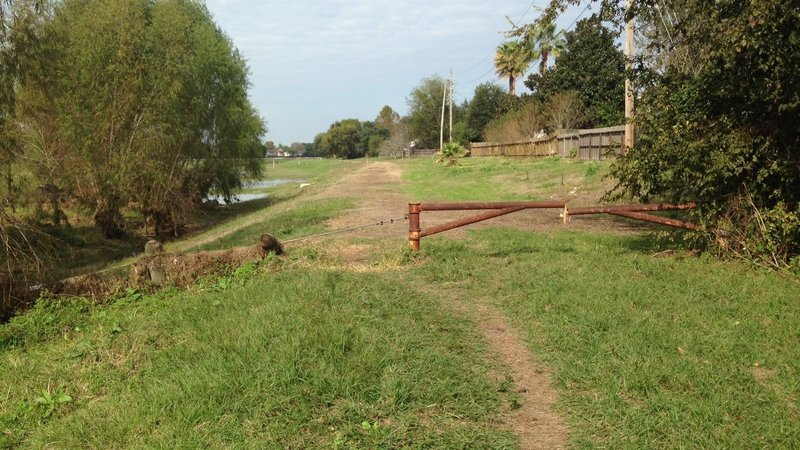 North end of Mary Helen Lee Trail. South of fence is Addicks Reservoir (US Army  Corps of Engr.).  North of fence is property of Harris County Flood Control District (HCFCD).