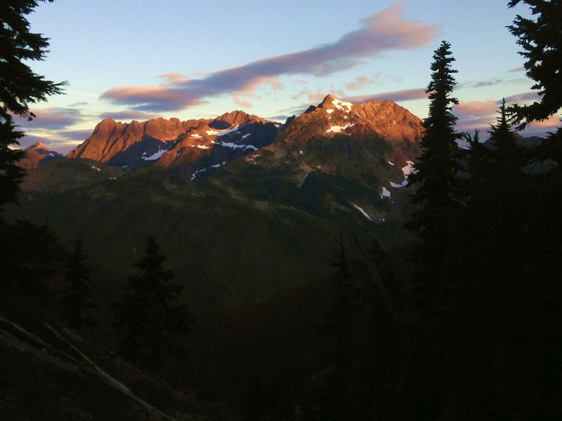 First light hits Mount Anderson, as seen from near LaCrosse Pass.