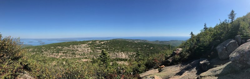 View to the East ascending Cadillac's eastern face (cruise ships at Bar Harbor in the distance and Dorr Mountain is in the center).