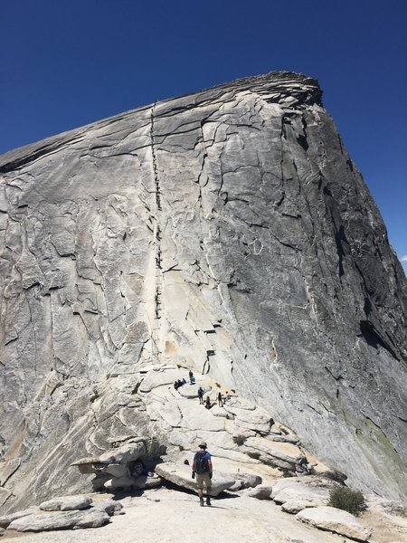 Reaching to the Half Dome cable! It was a wonderful and unforgettable experience!!
