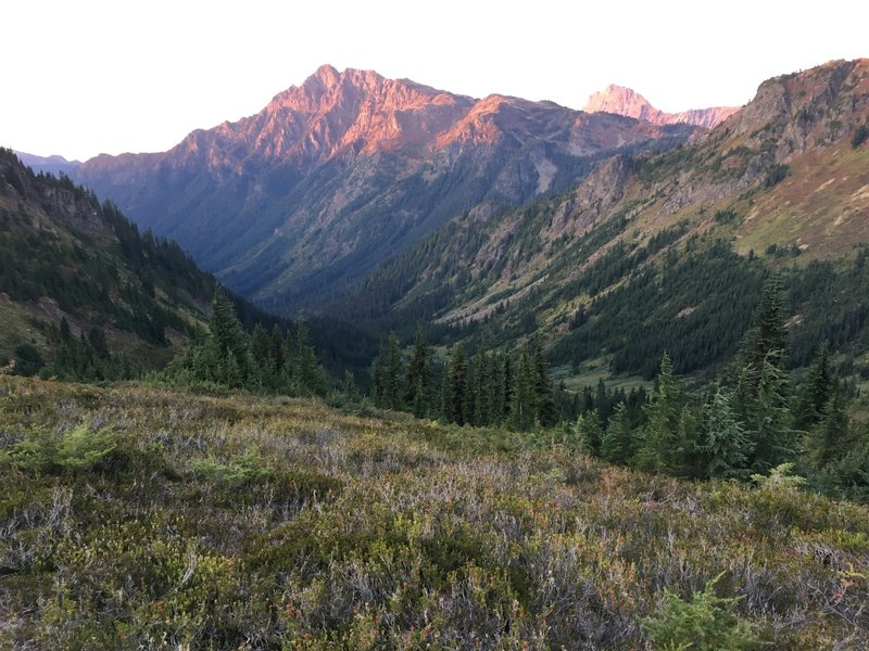 Looking north from Welcome Pass, suns going down quick.