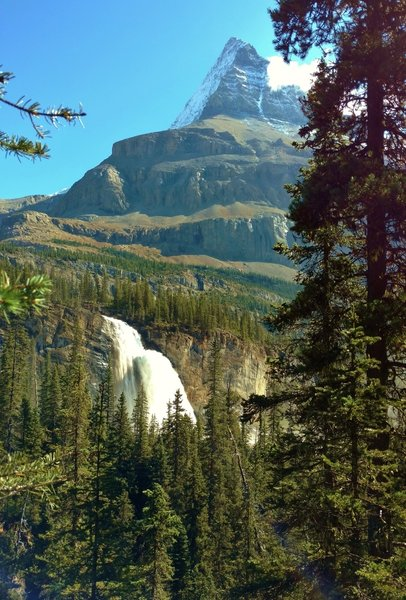 Emperor Falls at the top of the Valley of a Thousand Falls, with Mt Robson towering over them