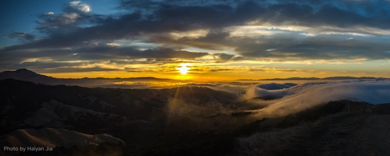 Sunrise above the canyon.