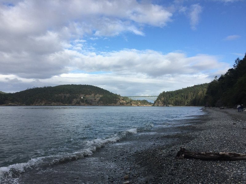 A quick step off the trail onto the beach yields great views towards Deception Pass