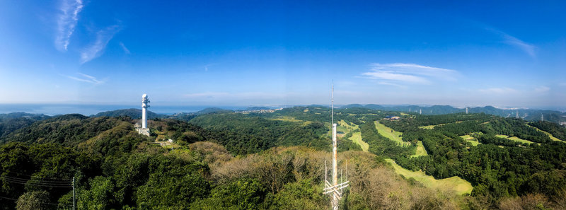 Looking off toward Mt. Fuji from the top of the observation tower at the top of Mt. Ogusu.
