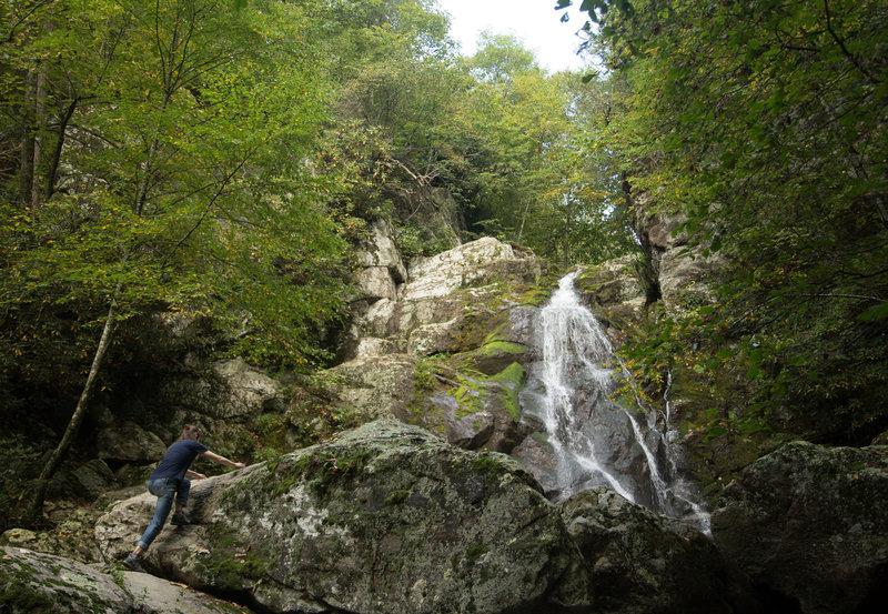 Scrambling to the base of Stiles Falls