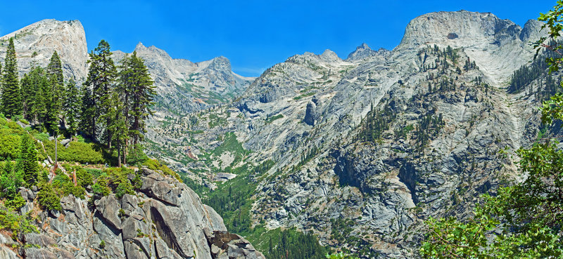 Looking up the Hamilton Creek Canyon with Angles Wings on the left and Mt. Stewart in the center.