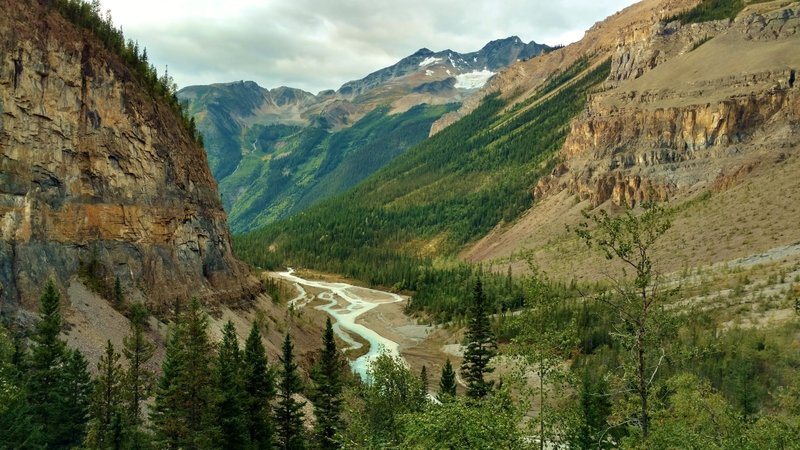 Looking down the Robson River Valley from near the bottom of the Valley of a Thousand Falls.