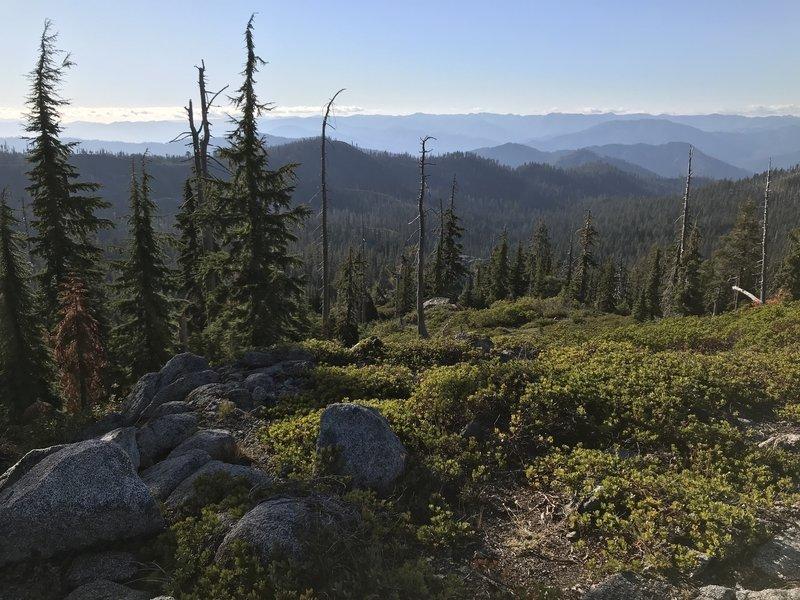 View looking northwest from Haypress Trail over McCash Creek drainge toward Klamath River and Siskiyou Wilderness