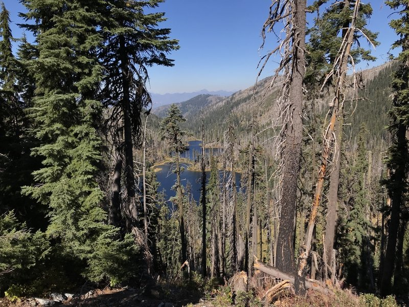 Looking down from Haypress Trail on One Mile Lake.