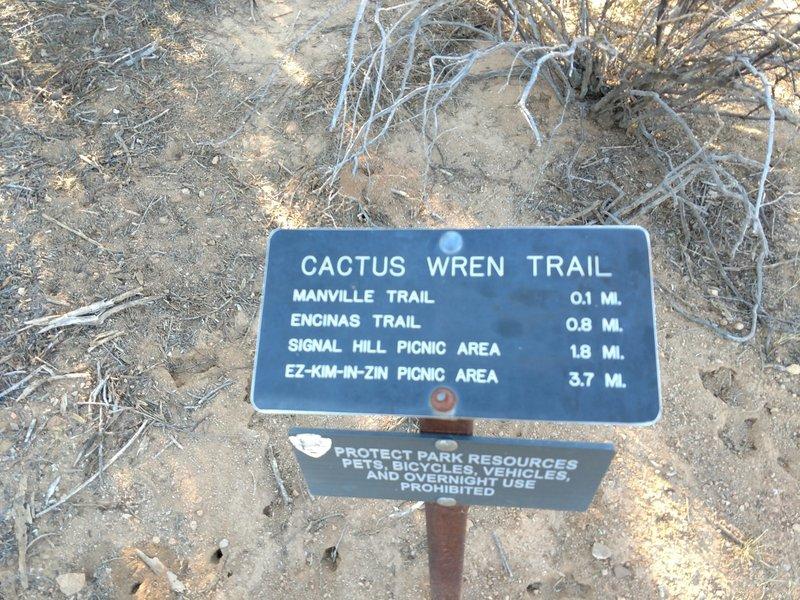 Cactus Wren Trailhead sign off of Rudasill Rd.
