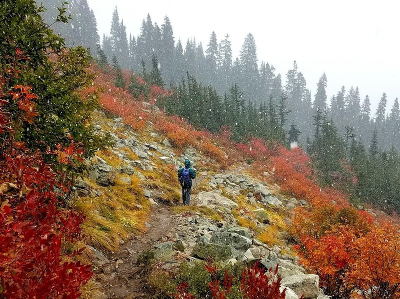 Fall colors and snowfall.