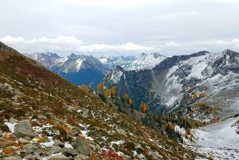 View down from near the pass, fall colors.
