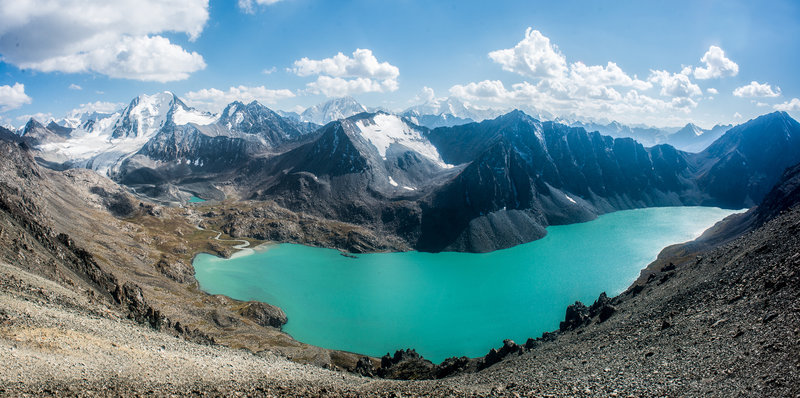 Beautiful Lake Ala-Kol, Kyrgyzstan.