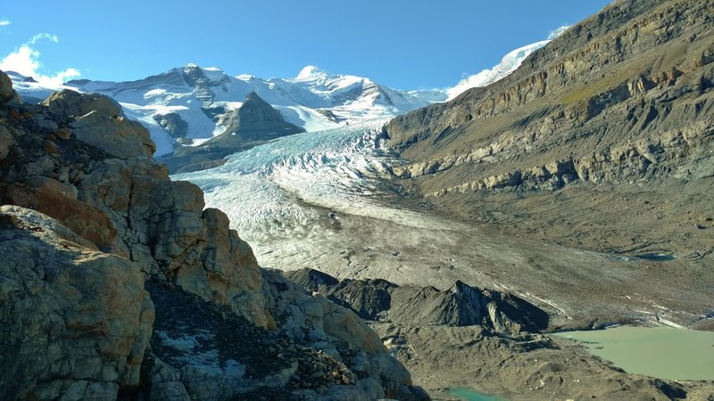 Robson Glacier with Resplendent Mountain at 11,240 ft., in the distance (center). Mt. Robson is hidden behind the shoulder of Rearguard Mountain on the right