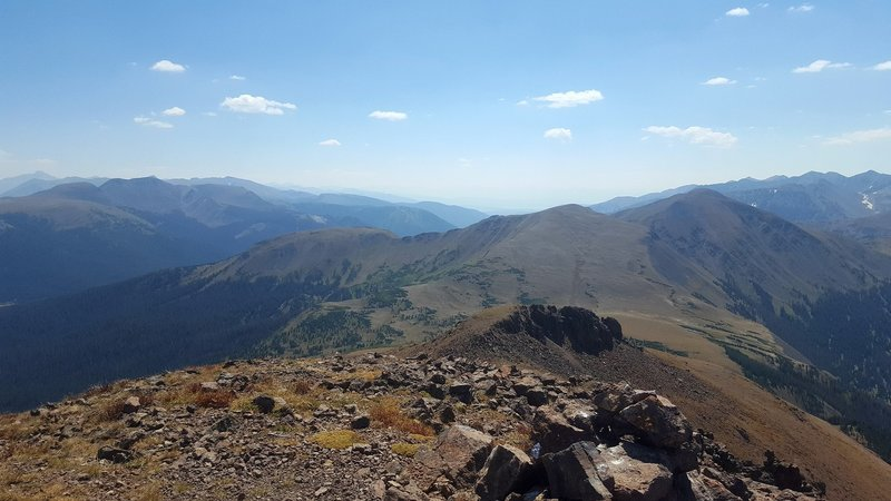Looking back along the route from the summit of Iron Mountain.