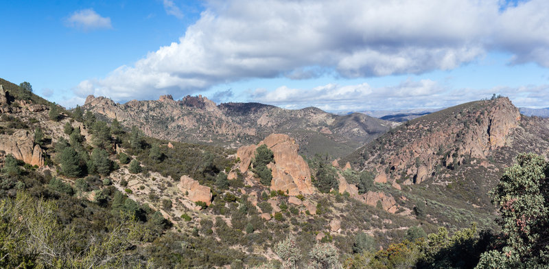 Panoramic view of the southern part of Pinnacles National Park.
