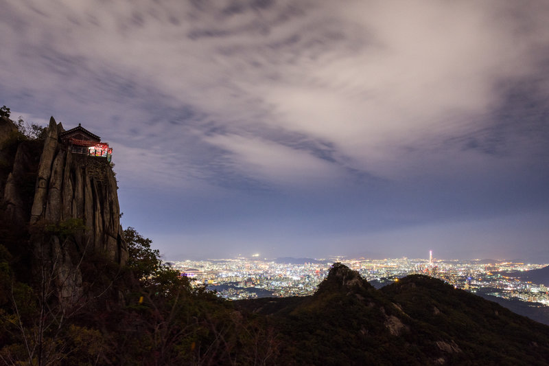 Night view of Yeonjudae and Seoul, South Korea.