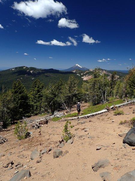 Descending the use trail along the ridge below Aspen Butte (Mt. McLoughlin in the distance)