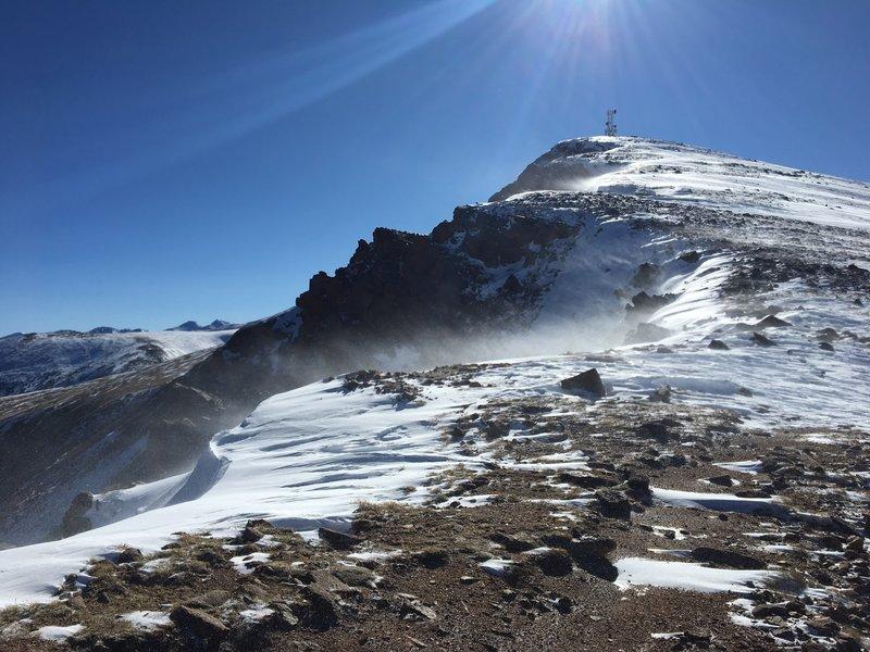 Colorado Mines Peak weather station from the snowy ridgeline